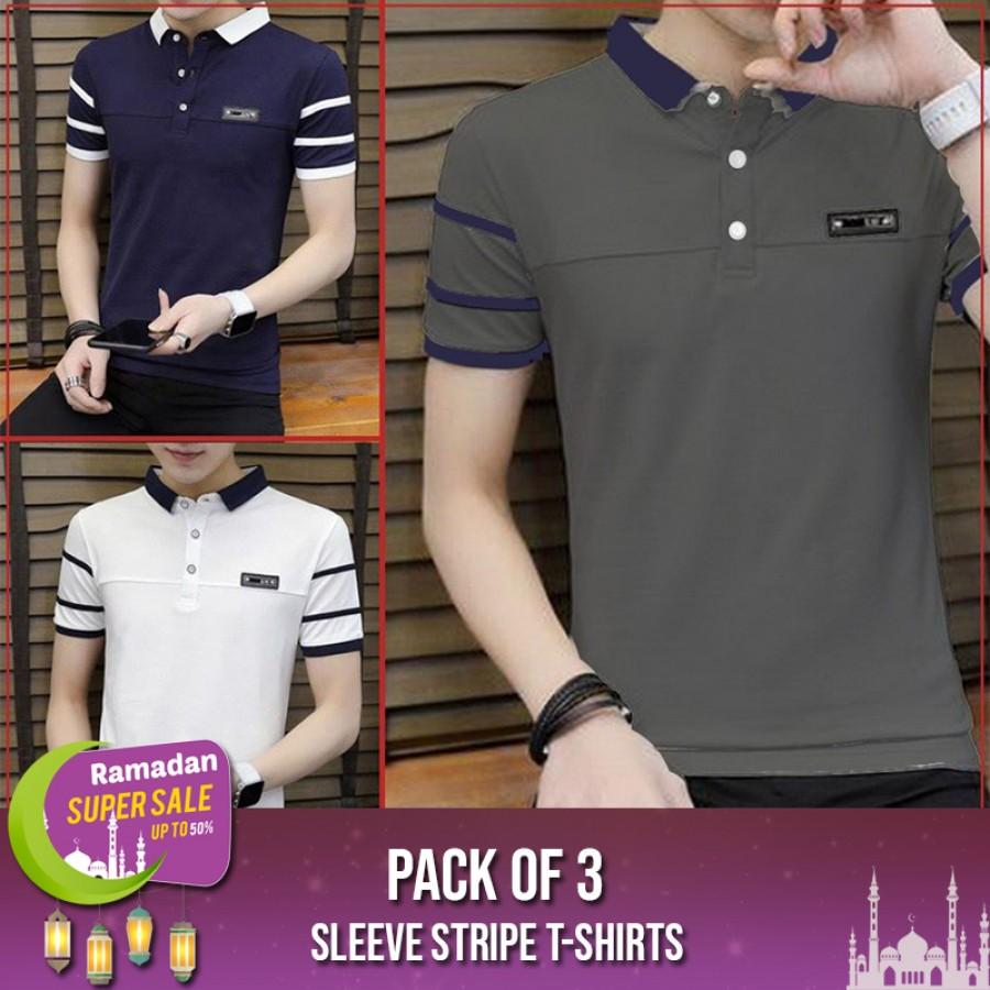 Pack of 3 Sleeve Stripe T-shirts-RAMADAN SUPER SALE