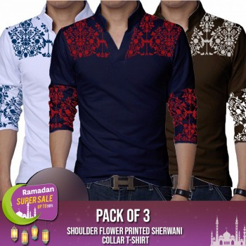 Pack of 3 Shoulder Flower Printed Sherwani Collar  T-Shirt-RAMADAN SUPER SALE