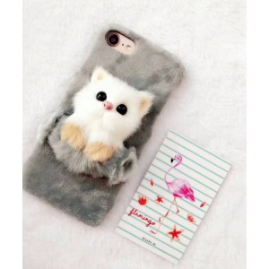 ( PK022 ) Fur case with cute furry cats  Grey fur case with cute furry 3d cats kittens
