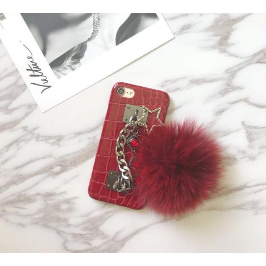 (PK020) Red Crocodile pattern case with furball and chain holder  Red Crocodile pattern case with red furball and chain holder