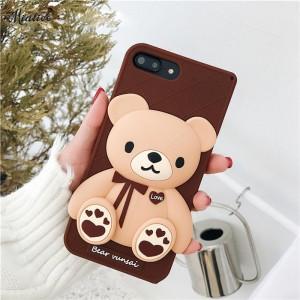 ( PK019 ) Chocolate Bear case  3d silicon case Chocolate Cute Bear case
