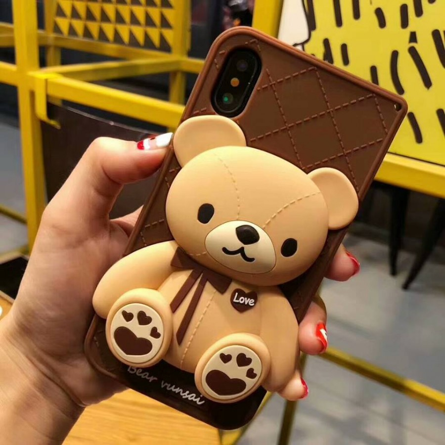 ( PK019 ) Chocolate Bear case  3d silicon case Chocolate Cute Bear case