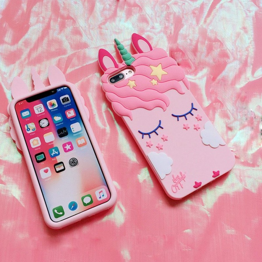 ( PK018 ) Unicorn and cloud case  3d silicon case Unicorn cloud case