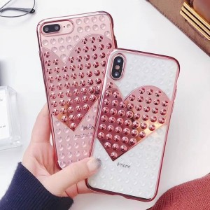 ( PK016 ) Heart shaped cases  Soft transparent luxury case with printed heart and 3d spikes