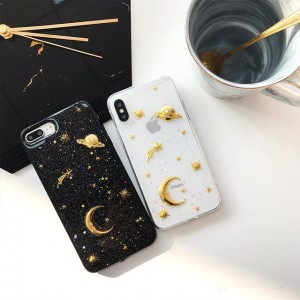 PK015 Transparent case with moons and stars  Soft glittery luxury case with printed 3d electroplated moons and stars