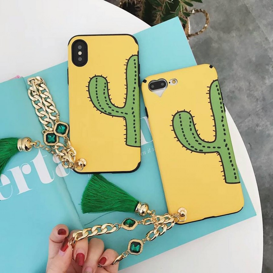 ( PK014 ) Cactus printed case with chain and green tassle  Yellow case with cactus print and chain holder and green tassle for good
