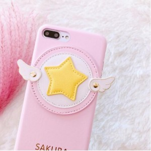 PK012 Star Wings Pink 3d silicon case  SIlicon 3d case in Pink color with yellow star and white wings