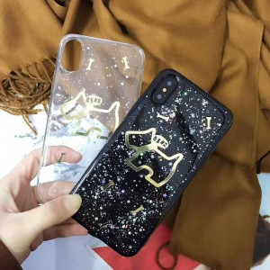 PK009 Dog and Bones Electroplated soft case  Soft glittery luxury case with printed 3d electroplated dogs and bones