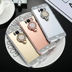 Rhinestones soft tpu from sides and mirror back with shiny rhinestones