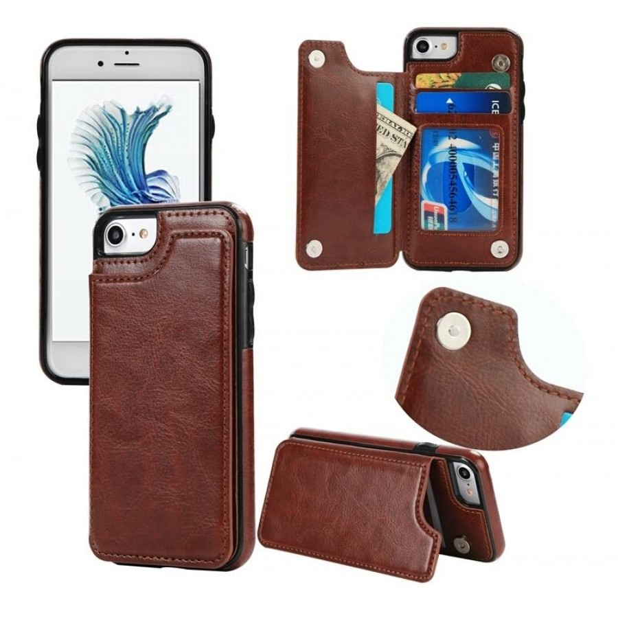 PK001 Brown Leather back flip card slot case Brown leather back case with card slots flip