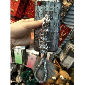 PK023 Grey Crocodile pattern case with grey furball and chain holder
