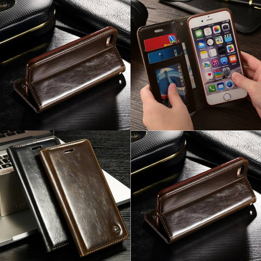 PK002 Leather wallet case  Leather wallet case with stand and card slots