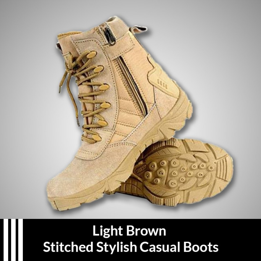 Light Brown Stitched Stylish Casual Boots