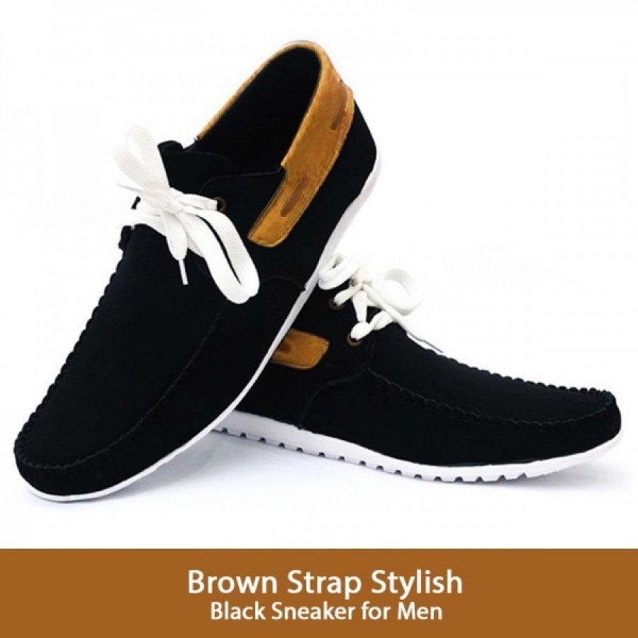 Strap Stylish Black Sneaker for Men