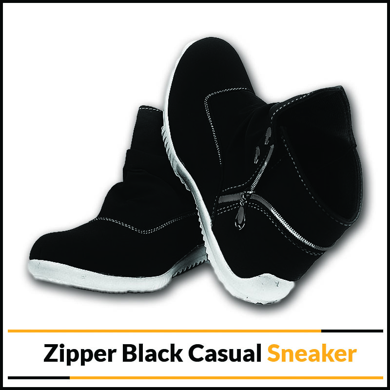 Zipper Black Casual Sneaker