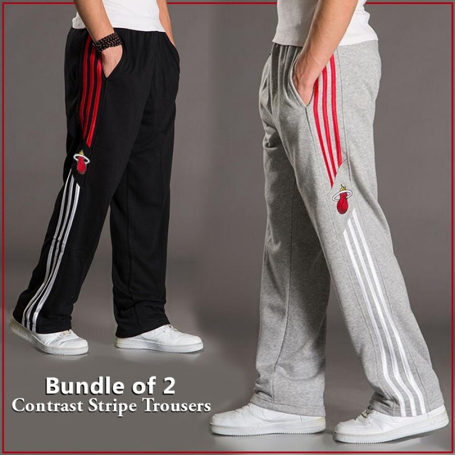 BUNDLE OF 2 ( Contrast Stripe  Trousers )