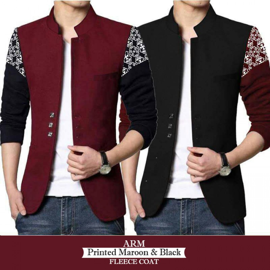 ARM Printed Maroon And Black Fleece Coat