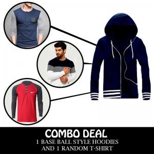 Combo Deal 1 Elegant BaseBall Style Jacket And 1 Random T-Shirt