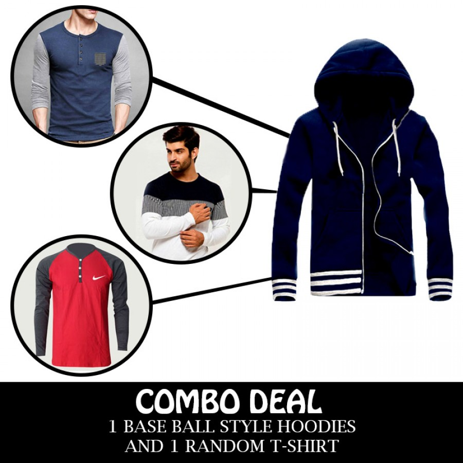 Combo Deal 1 Elegant BaseBall Style Jacket And 1 Random T-Shirt