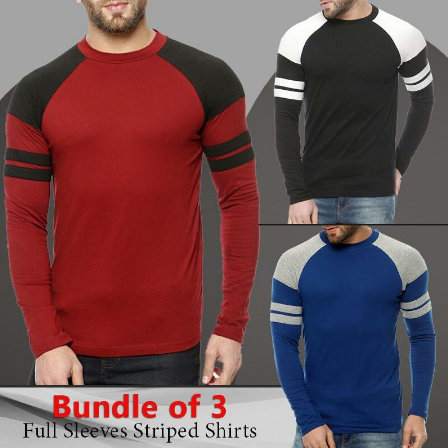 Bundle Of 3 Full Sleeves Striped T-Shirt