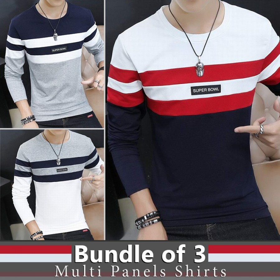 Bundle Of 3 Multi Panels Shirts