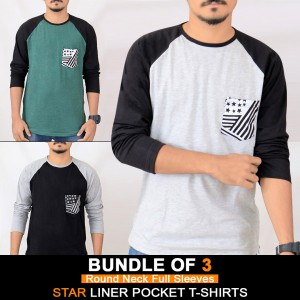 Bundle of 3 ( Round Neck Full Sleeves ) Star Liner Pocket T-Shirts