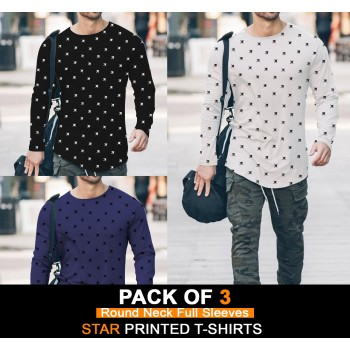 Pack of 3 ( Round Neck Full Sleeves ) Star Printed t T-Shirts