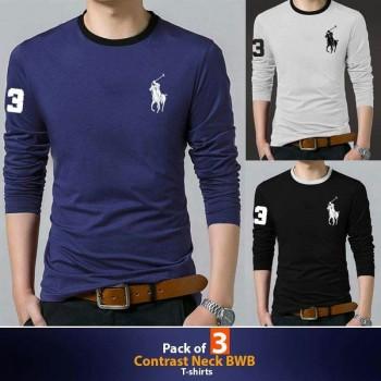 Pack of 3 ( Contrast Neck BWB )