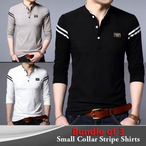 Bundle Of 3 ( Small Collar Stripe Shirts )