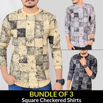 Bundle Of 3 ( Square Checkered Shirts )