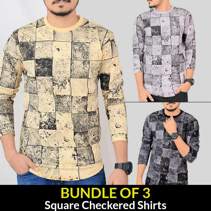 Bundle Of 3 ( Square Checkered Shirts )