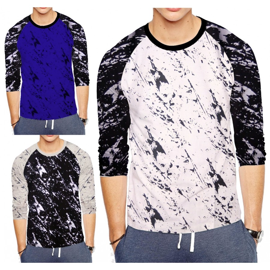 Bundle Of 3 Round neck Raglan Full Print T-Shirts