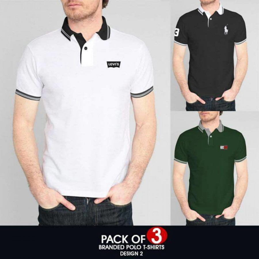 Pack of 3 ( Branded Polo T-Shirts ) Design 2