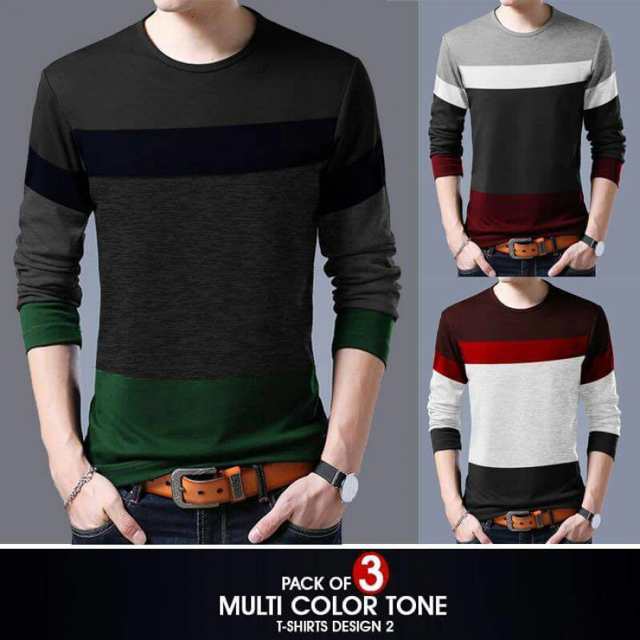 Pack of 3 ( Multi Color Tone T-Shirts ) Design 2