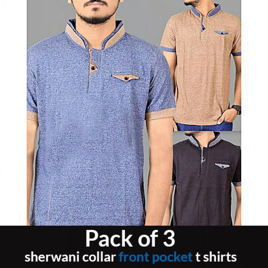 Pack of 3 sherwani collar front pocket t shirts