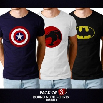 Pack of 3 round neck half sleeves t-shirts (design 1)