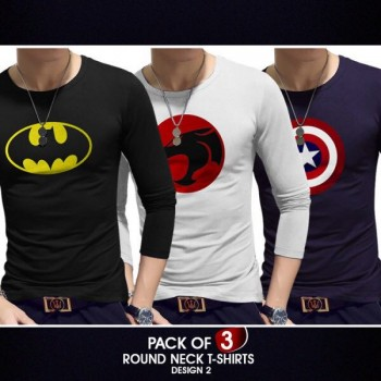 Pack of 3 round neck full sleeves t-shirts ( Design 2)