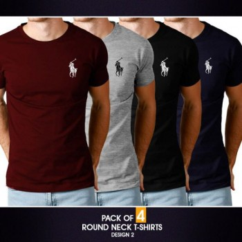 Pack of 4 round neck half sleeves t-shirts ( Design 2)