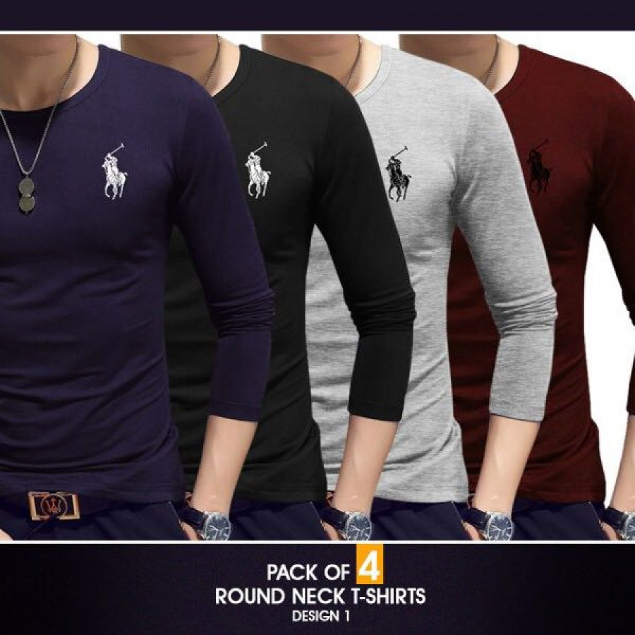 Pack of 4 round neck full sleeves t-shirts ( Design 1)