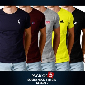 Pack of 5 round neck half sleeves t-shirts ( Design 2)