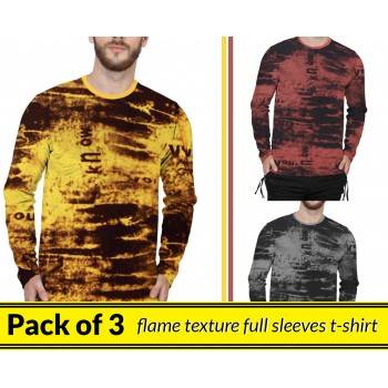 Pack Of 3 ( Flame Texture Full Sleeves T-shirt )