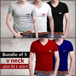 Bundle Of 5 (V-Neck Slim Fit T-shirts )
