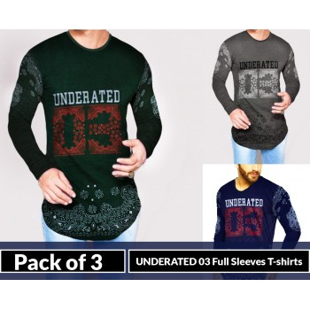 Pack Of 3 ( Underated 03 Full Sleeves  T-shirts )