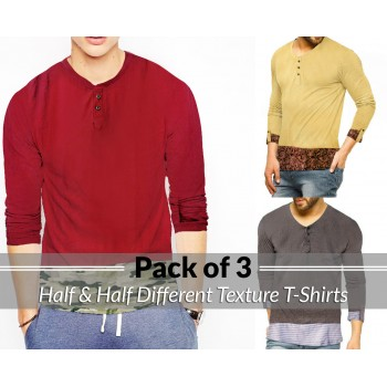 Pack Of 3 ( Half & Half Different Texture T-shirts )