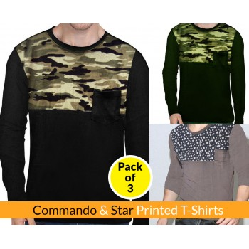 Pack Of 3 ( Commando & Star Printed T-shirt)