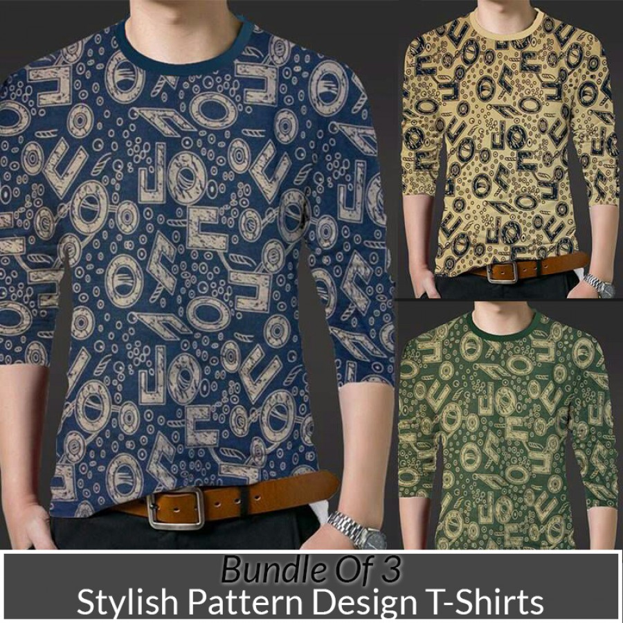 Bundle Of 3 ( Stylish Pattern Design T- shirt)
