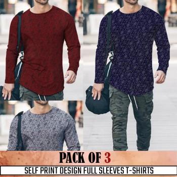 Pack Of 3 ( Self Print Design Full SleevesT- shirt)