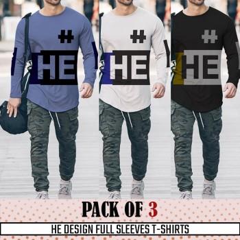 Pack Of 3 ( HE Design Full SleevesT- shirt)