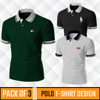 Pack Of 3 (Polo T-shirt Design)