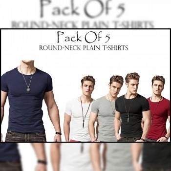Pack Of 5 (Round Neck Plain T-shirt)